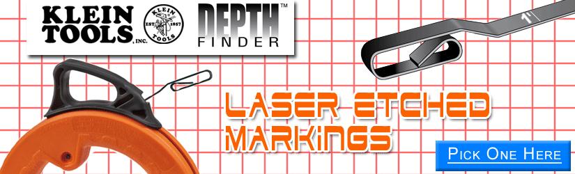 Klein Tools DepthFinder fish tape features Laser Etched Markings