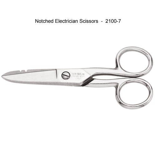 klein tools 2100-7 notched electricians scissors - icon