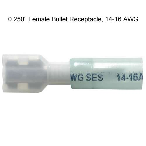 quarter inch krimpa-seal female bullet receptable 14-16 awg
