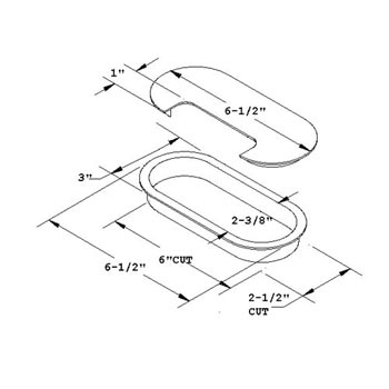 dimensional drawing for oval grommet and cover
