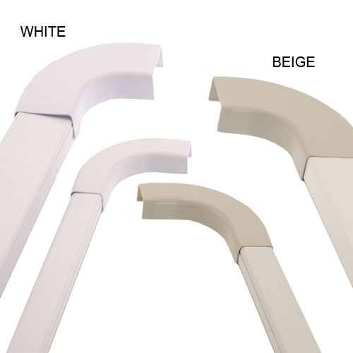 white and beige 1 piece latching surface raceways with 90 degree turn acc.