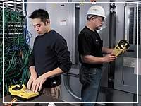 technicians using label printers