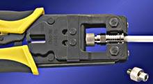 crimp tool compressing bnc connector