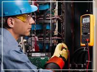 technician checking servers