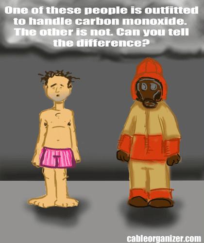 man in shorts versus man in fire suit