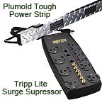 Plumold Tough Power Strip and Tripp Lite Home Theater Surge Supressor