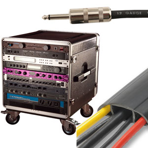 music cables, rolling equipment rack, Megaduct cable protector