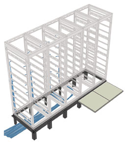 raised floor allows cabling under server enclosures