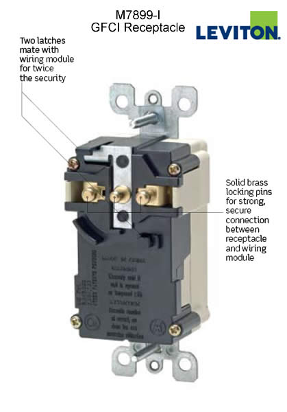 leviton gfci lev-lok modular duplex receptacle back view with labeled features icon