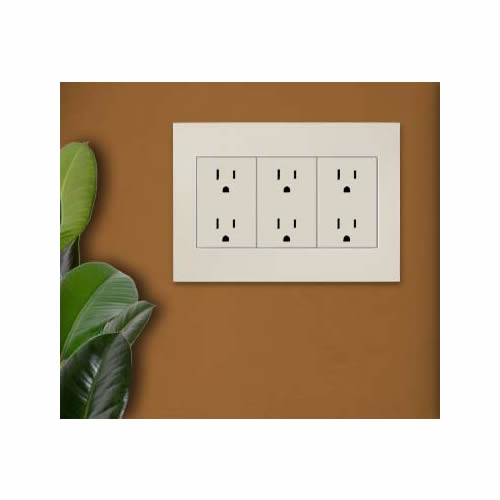 leviton acenti duplex receptacles installed with wall plate icon