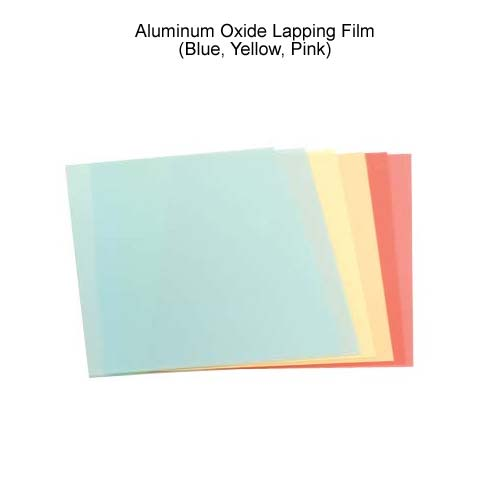 leviton fiber optics aluminum oxide lapping films in blue yellow and pink icon