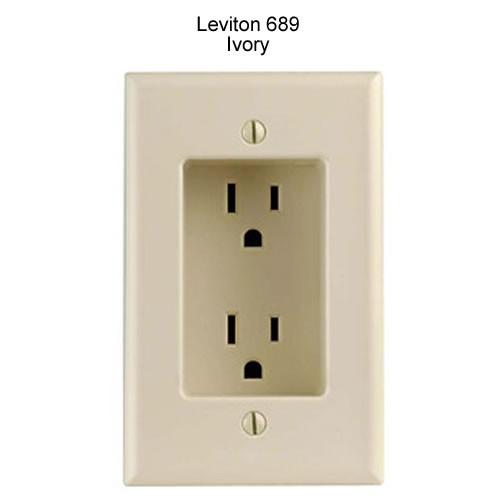 leviton decora recessed duplex receptacle in ivory icon