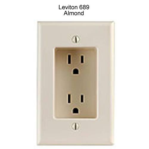 leviton decora recessed duplex receptacle in almond icon