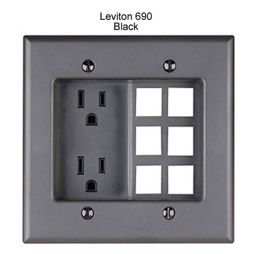 leviton decora recessed duplex receptacle with 6 data ports in black icon