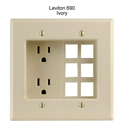 leviton decora recessed duplex receptacle with 6 data ports in ivory icon