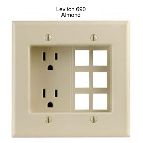 leviton decora recessed duplex receptacle with 6 data ports in almond icon