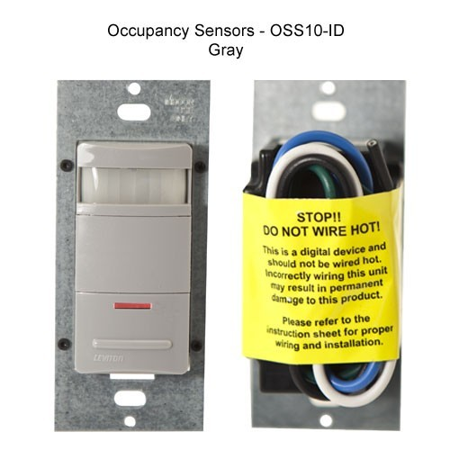 close up of leviton decora occupancy sensor wall switch with led night light in gray icon