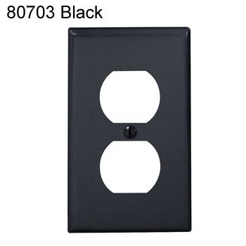 leviton duplex receptacle wall plate in black icon