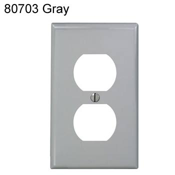 leviton duplex receptacle wall plate in gray icon