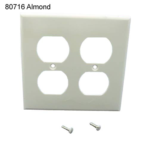 leviton dual gang receptacle wall plate in almond icon