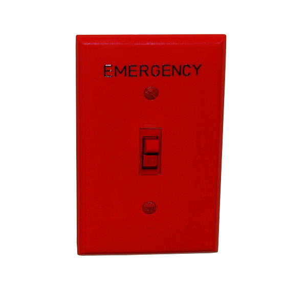 red toggle switch with emergency wall plate