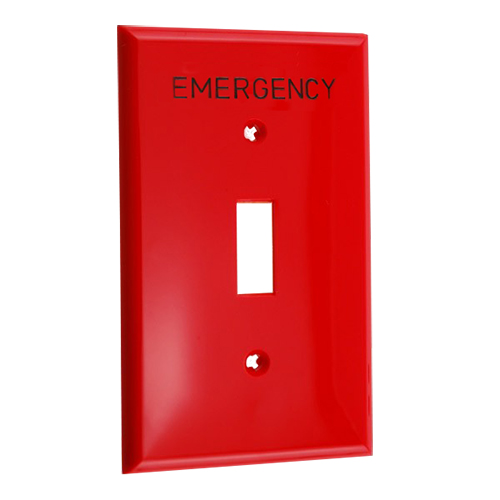 """Leviton Engraved """"Emergency"""" Red Wall Plate"""