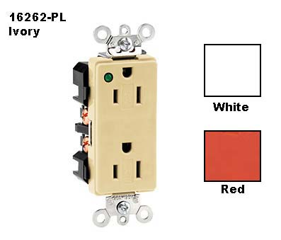 leviton decora hospital grade duplex receptacle in ivory with white and red color viewer icon