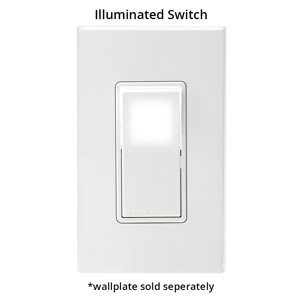 leviton decora illuminated designer rocker switch in white front view with wallplate icon