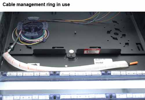 top view of leviton opt-x ultra high density fiber enclosure cable management rings in use icon