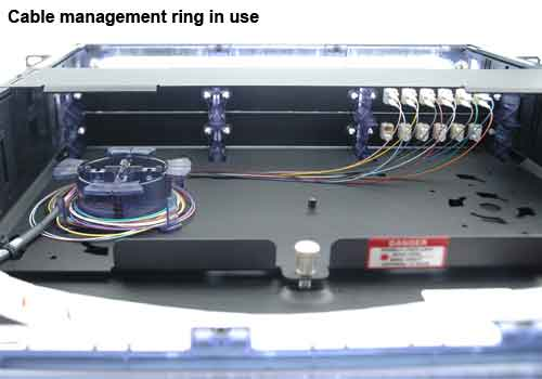side view of leviton opt-x ultra high density fiber enclosure cable management rings in use icon