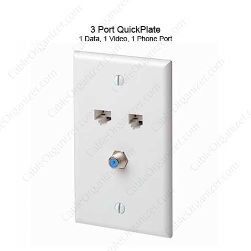 Leviton QuickPlate 3 Port Wall Plate  - icon