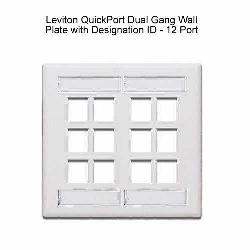 Leviton QuickPort® Dual Gang Multi-Port Wall Plates with Designation Windows