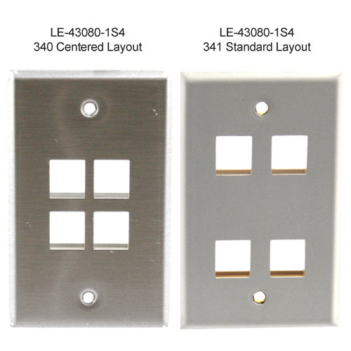 leviton stainless steel four port wall plate icon