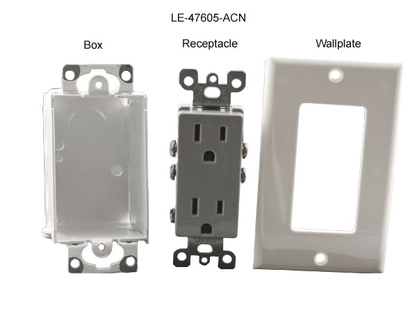 front views of leviton duplex box power receptacle and wallplate for structured media enclosure icon