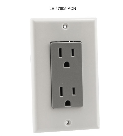 leviton duplex power receptacle for structured media enclosure in gray icon
