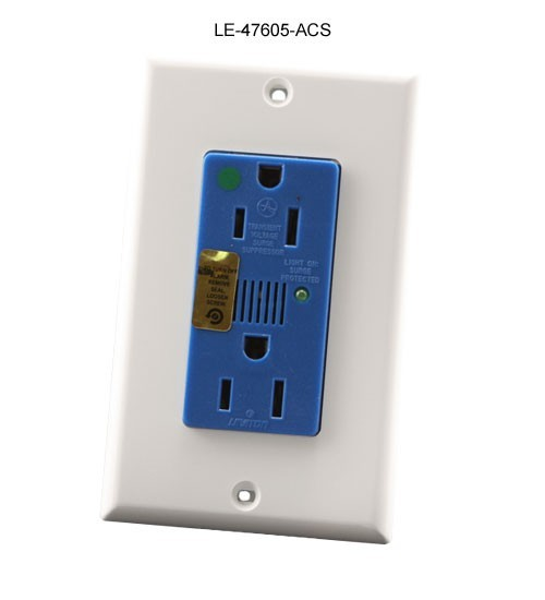 front view of leviton duplex j-box surge protection kit with wallplate for structured media enclosure icon