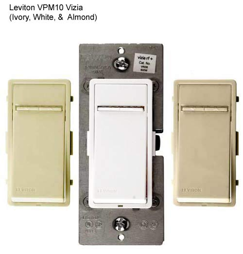 leviton vizia plus coordinating and matching dimmer and switch remotes in ivory white and almond icon