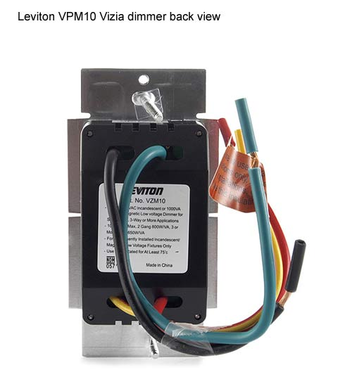 leviton vizia plus coordinating and matching dimmer back view icon