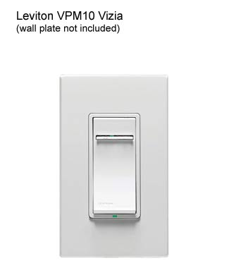 leviton vizia plus coordinating and matching dimmer in white with wall plate icon