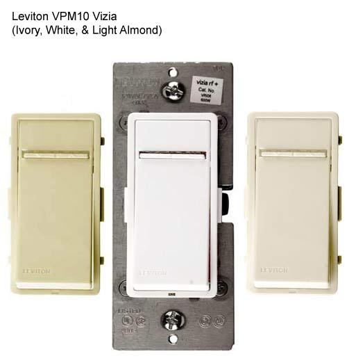 leviton vizia 1000w incandescent dimmers in ivory white and light almond icon