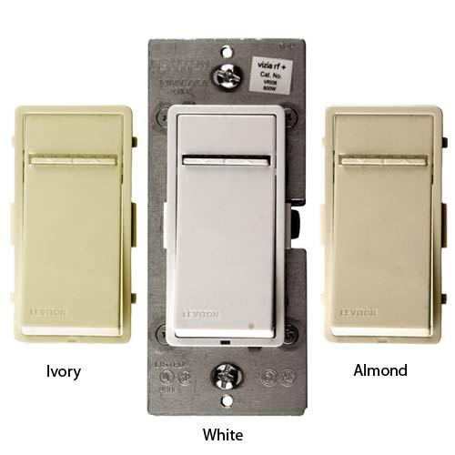 leviton vizia rf plus designer fan controls in ivory white and almond icon