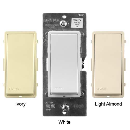 leviton vizia rf plus wireless wall switches in ivory white and light almond icon