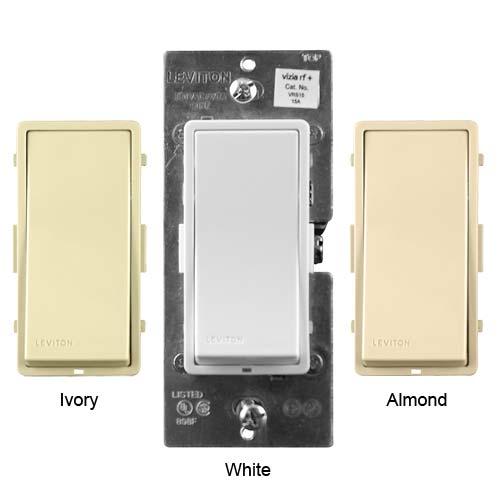 leviton vizia rf plus wireless wall switches in ivory white and almond icon