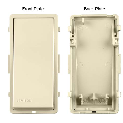 leviton vizia rf plus wireless wall switch front and back plate views icon