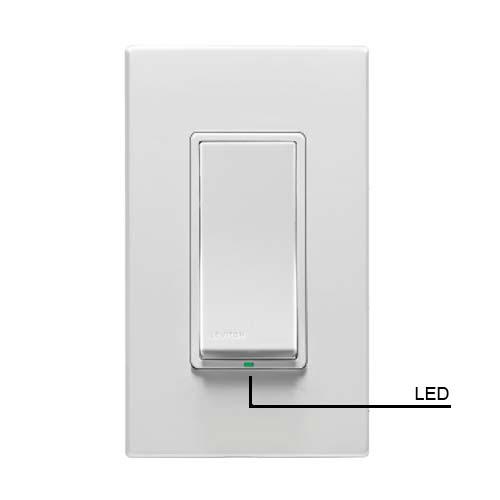 leviton vizia rf plus wireless wall switch front view in white with wallplate icon