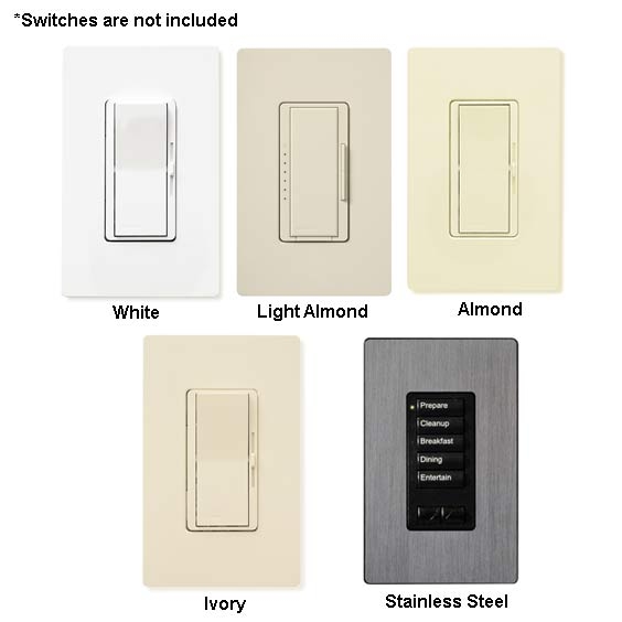 lutron claro designer wallplates in white light almond almond ivory and stainless steel icon