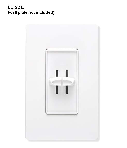 lutron skylark dual slide off dimmer in white with wallplate front view icon