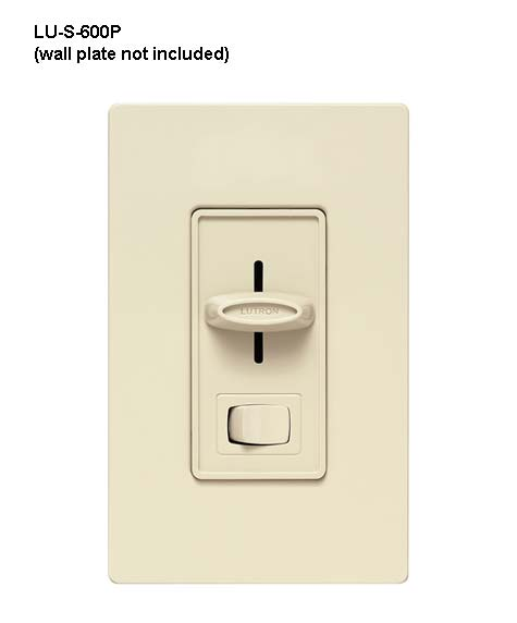 lutron skylark single pole preset dimmer with light switch in ivory with wallplate front view icon