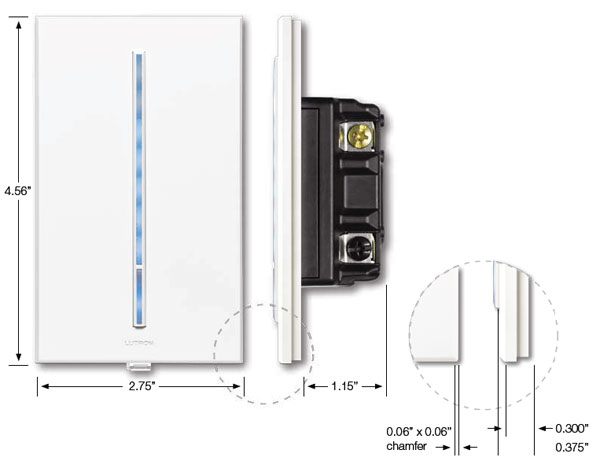 lutron vierti light dimmer front and side views with dimensions icon