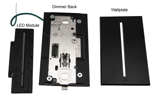 lutron vierti light dimmer led module dimmer back and wallplate in black icon